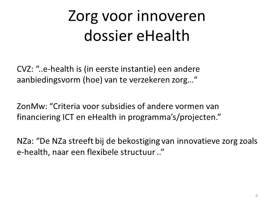 """Zorg voor innoveren dossier eHealth CVZ: """"..e-health is (in eerste instantie) een andere aanbiedingsvorm (hoe) van te verzekeren zorg…"""" ZonMw: """"Criter"""
