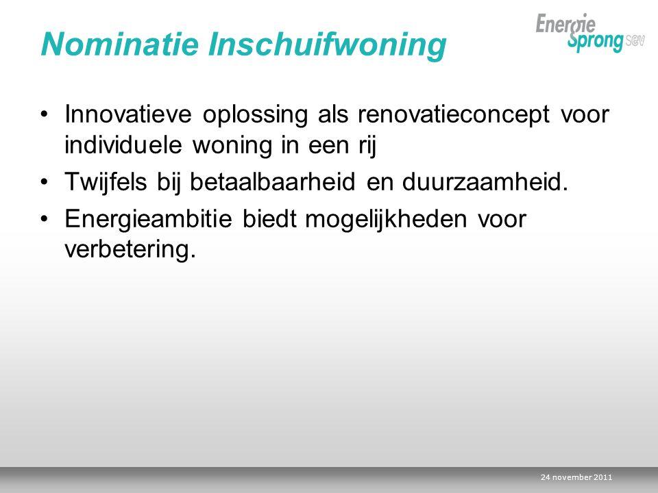 24 november 2011 Nominatie Inschuifwoning Innovatieve oplossing als renovatieconcept voor individuele woning in een rij Twijfels bij betaalbaarheid en duurzaamheid.