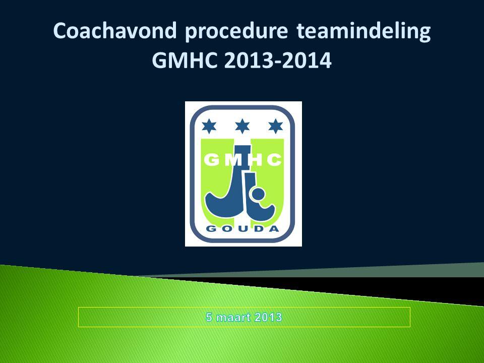 Coachavond procedure teamindeling GMHC 2013-2014
