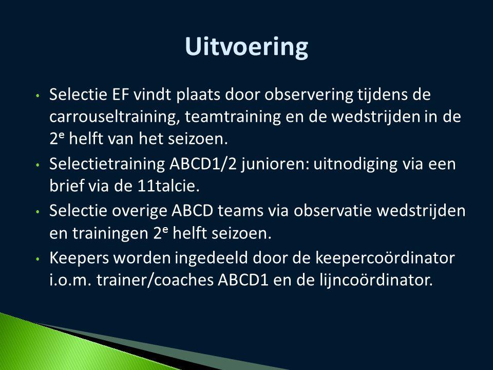 Selectie EF vindt plaats door observering tijdens de carrouseltraining, teamtraining en de wedstrijden in de 2 e helft van het seizoen. Selectietraini