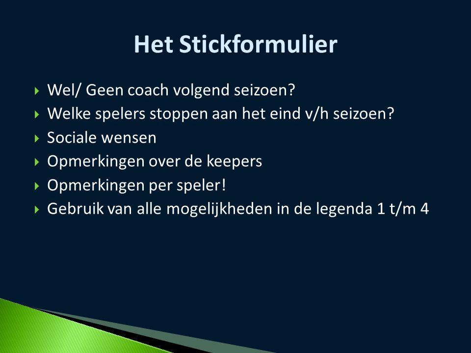  Wel/ Geen coach volgend seizoen?  Welke spelers stoppen aan het eind v/h seizoen?  Sociale wensen  Opmerkingen over de keepers  Opmerkingen per