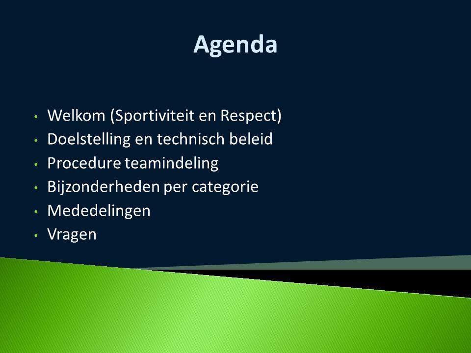 Agenda Welkom (Sportiviteit en Respect) Doelstelling en technisch beleid Procedure teamindeling Bijzonderheden per categorie Mededelingen Vragen