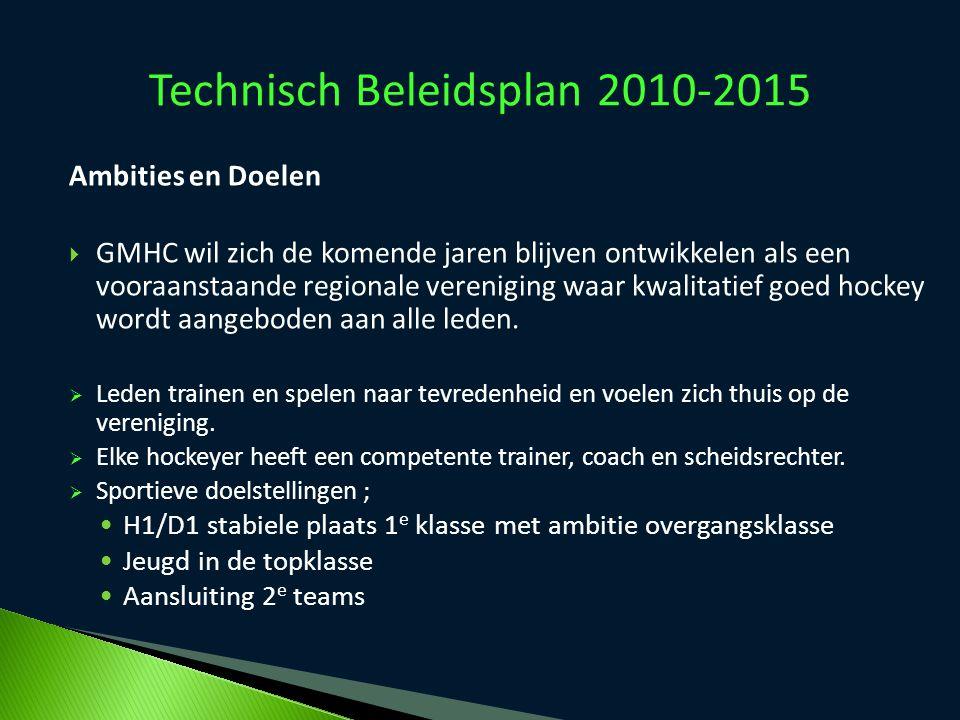 Technisch Beleidsplan 2010-2015 Ambities en Doelen  GMHC wil zich de komende jaren blijven ontwikkelen als een vooraanstaande regionale vereniging wa