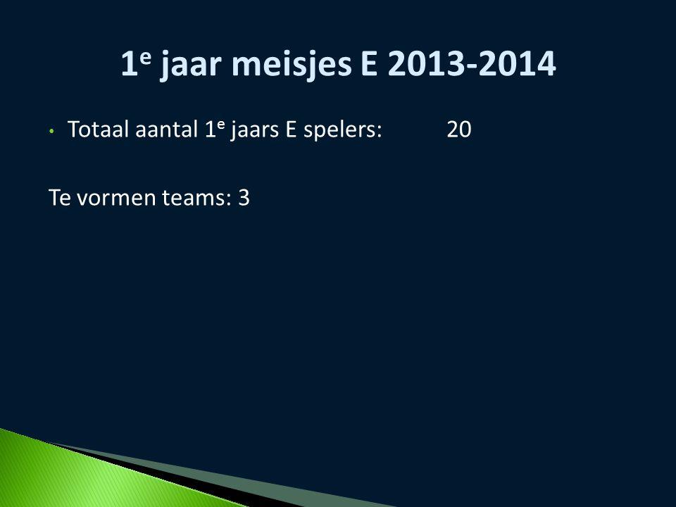 Totaal aantal 1 e jaars E spelers:20 Te vormen teams: 3 1 e jaar meisjes E 2013-2014