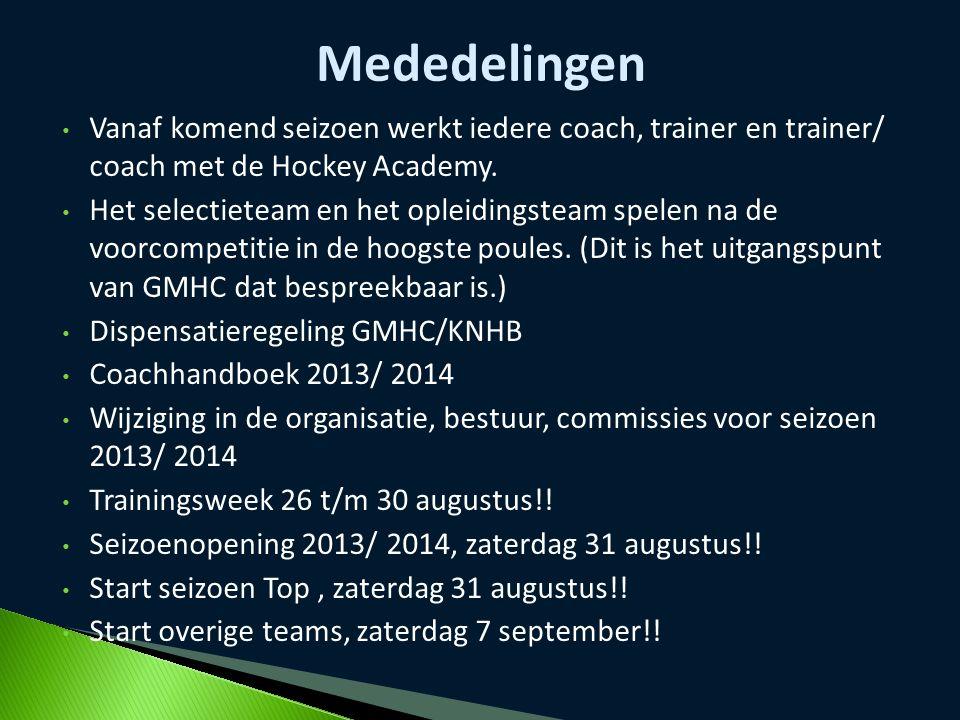 Vanaf komend seizoen werkt iedere coach, trainer en trainer/ coach met de Hockey Academy. Het selectieteam en het opleidingsteam spelen na de voorcomp