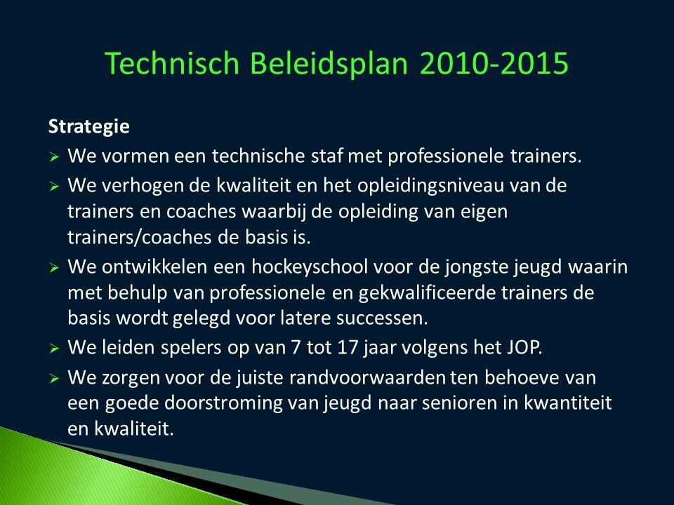 Technisch Beleidsplan 2010-2015 Strategie  We vormen een technische staf met professionele trainers.  We verhogen de kwaliteit en het opleidingsnive