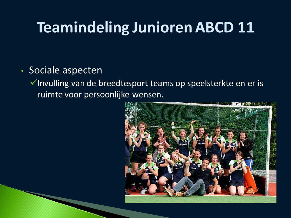 Sociale aspecten Invulling van de breedtesport teams op speelsterkte en er is ruimte voor persoonlijke wensen. Teamindeling Junioren ABCD 11