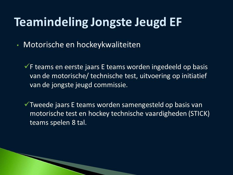 Motorische en hockeykwaliteiten F teams en eerste jaars E teams worden ingedeeld op basis van de motorische/ technische test, uitvoering op initiatief