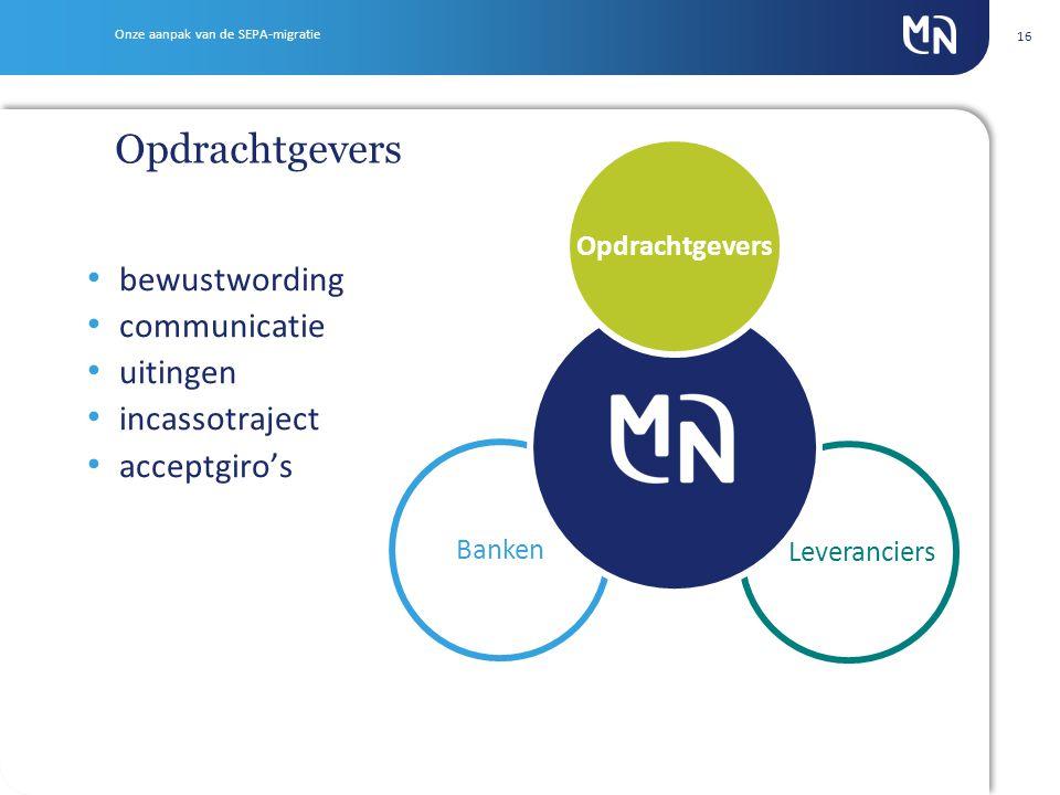 16 Leveranciers Banken bewustwording communicatie uitingen incassotraject acceptgiro's Opdrachtgevers Onze aanpak van de SEPA-migratie Opdrachtgevers