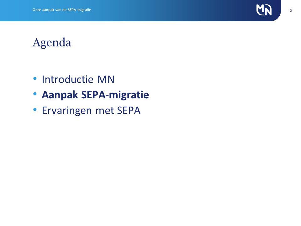 Agenda Introductie MN Aanpak SEPA-migratie Ervaringen met SEPA 5 Onze aanpak van de SEPA-migratie