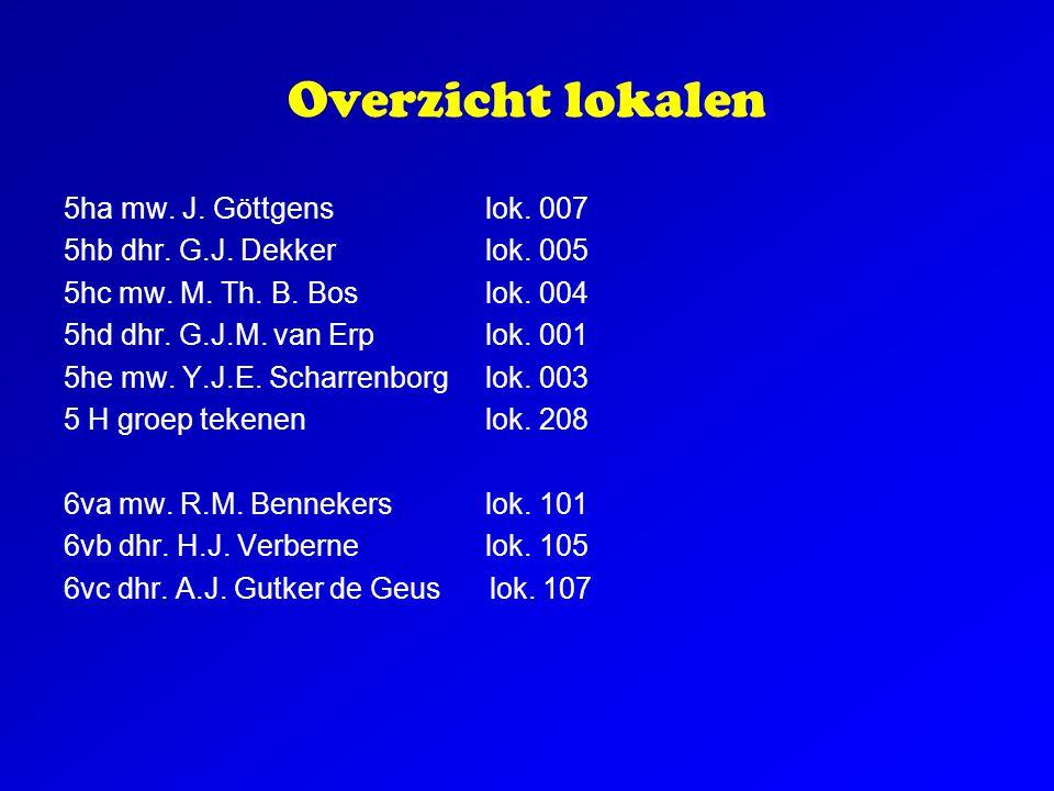 Overzicht lokalen 5ha mw. J. Göttgenslok. 007 5hb dhr. G.J. Dekkerlok. 005 5hc mw. M. Th. B. Boslok. 004 5hd dhr. G.J.M. van Erplok. 001 5he mw. Y.J.E
