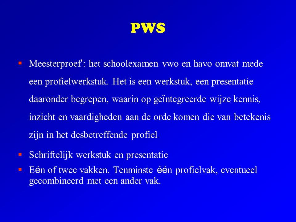 PWS  Meesterproef ' : het schoolexamen vwo en havo omvat mede een profielwerkstuk. Het is een werkstuk, een presentatie daaronder begrepen, waarin op