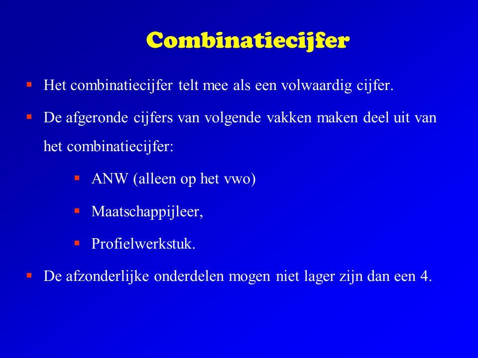 Combinatiecijfer  Het combinatiecijfer telt mee als een volwaardig cijfer.