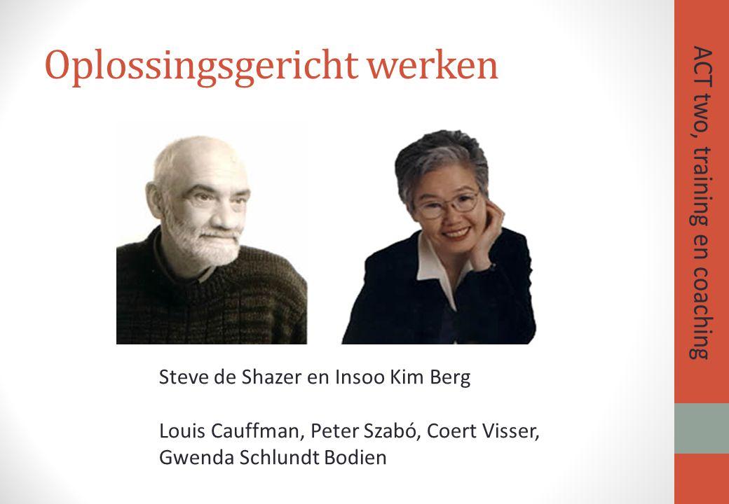 Oplossingsgericht werken Steve de Shazer en Insoo Kim Berg Louis Cauffman, Peter Szabó, Coert Visser, Gwenda Schlundt Bodien