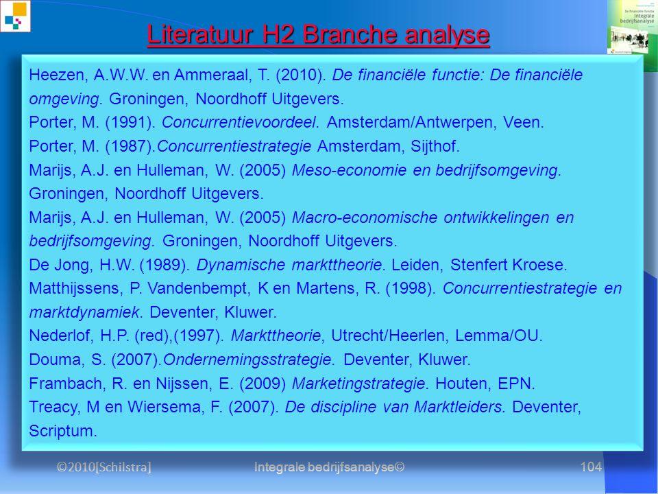 Integrale bedrijfsanalyse©103 Literatuur H1 Profiel Literatuur H1 Profiel Heezen, A.W.W. en Ammeraal, T. (2010). De financiële functie: Inleiding. Gro