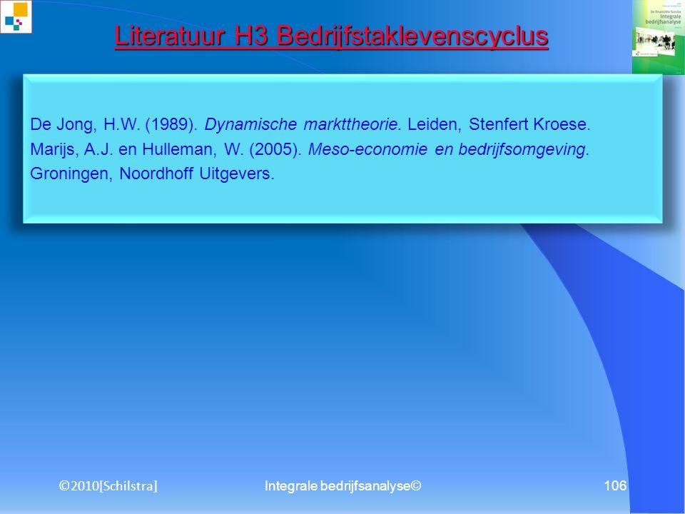 Integrale bedrijfsanalyse©105 Literatuur H3 Fundamentele analyse Literatuur H3 Fundamentele analyse Heezen, A.W.W. (2010). Bedrijfseconomie voor het b