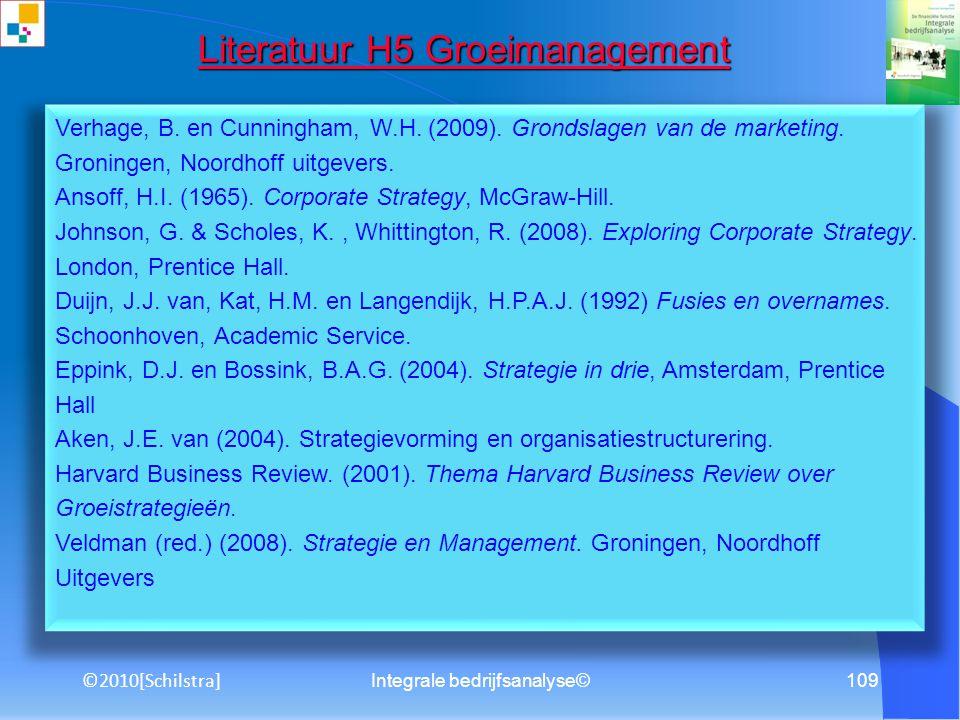 Integrale bedrijfsanalyse©108 Literatuur H4 Risicomanagement Literatuur H4 Risicomanagement Ammeraal, T.