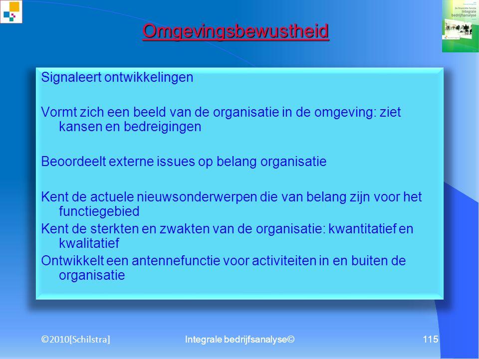 Integrale bedrijfsanalyse©114 Analyseren Analyseert een situatie in een organisatie Signaleert en herkent een probleem Analyseert redelijk ingewikkeld