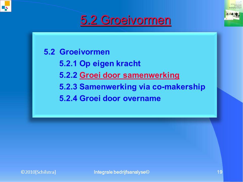 18 5.1 Groeirichtingen 5.1.1 Penetratie 5.1.2 Marktontwikkeling 5.1.3 Productontwikkeling 5.1.4 Diversificatie 5.1.5 Verticale integratie 5.1 Groeirichtingen 5.1 Groeirichtingen ©2010[Schilstra]
