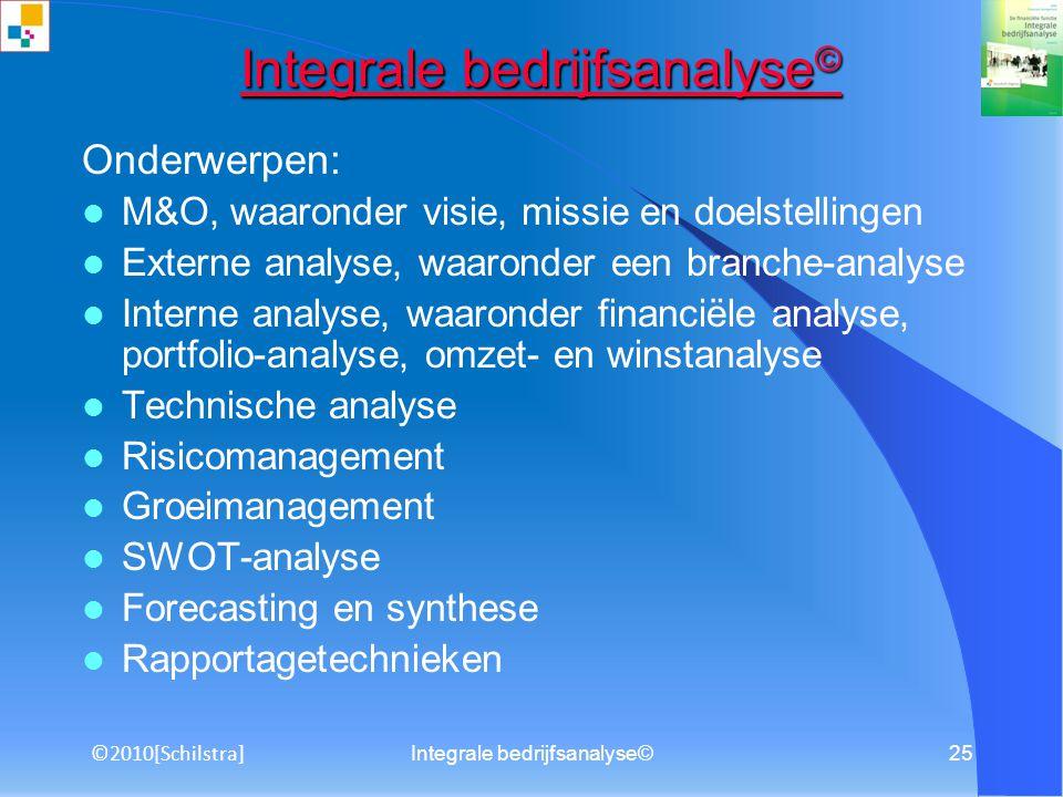 Integrale bedrijfsanalyse©24 Titelblad Samenvatting Inhoudsopgave Inleiding 1.Profiel van de onderneming 2.Branche-analyse 3.Bedrijfsanalyse 4.Risicom