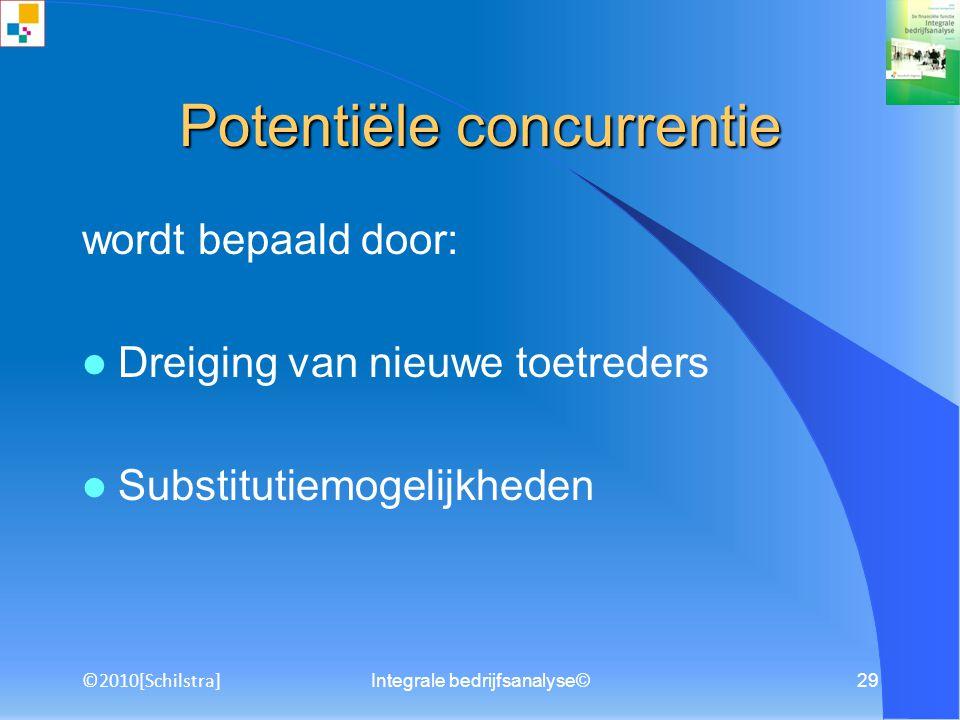 Integrale bedrijfsanalyse©28 Externe concurrentie wordt bepaald door: Leveranciersmacht Afnemersmacht ©2010[Schilstra]