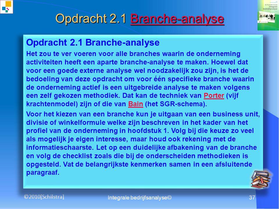 36 Opdrachten Zelfinstruerende opdrachten voor het maken van een Integrale bedrijfsanalyse Integrale bedrijfsanalyse© ©2010[Schilstra]