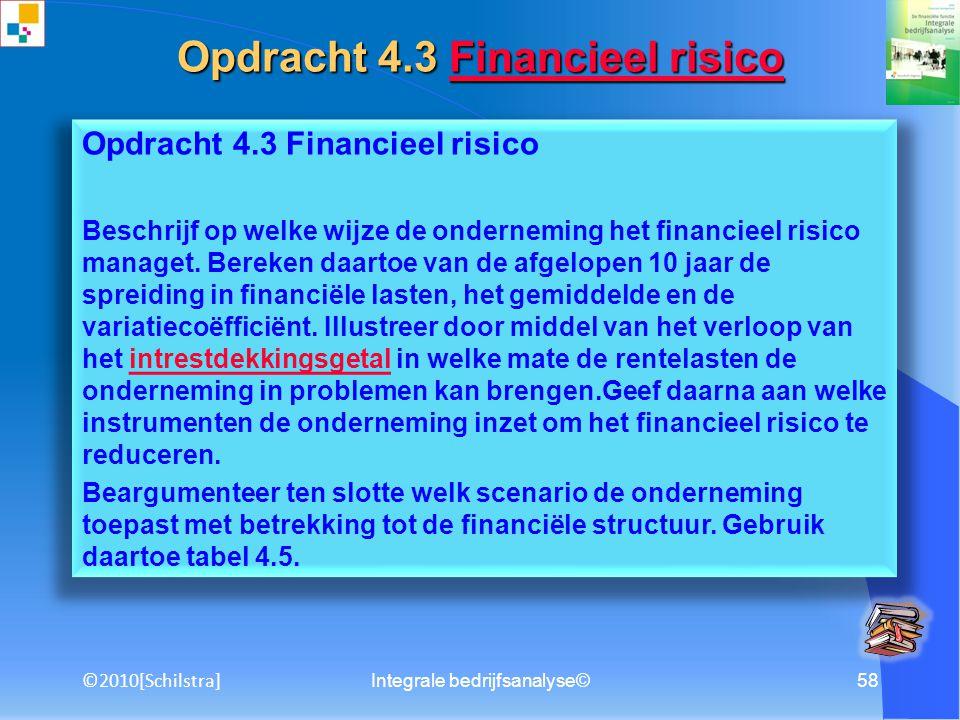 Integrale bedrijfsanalyse©57 Opdracht 4.2 Bedrijfsrisico Beschrijf op welke wijze de onderneming het bedrijfsrisico managet. Bereken daartoe van de af