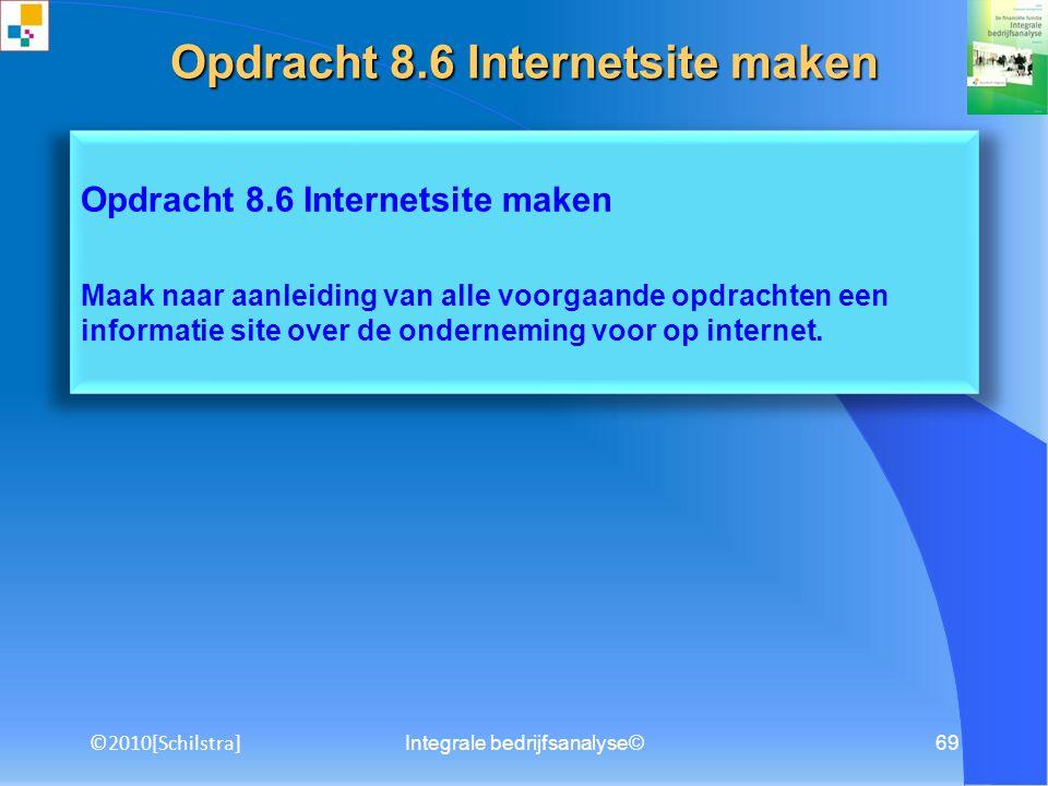Integrale bedrijfsanalyse©68 Opdracht 8.5 Powerpointpresentatie maken Maak naar aanleiding van het rapport Integrale bedrijfsanalyse een creatieve presentatie met behulp van Powerpoint of Flash.