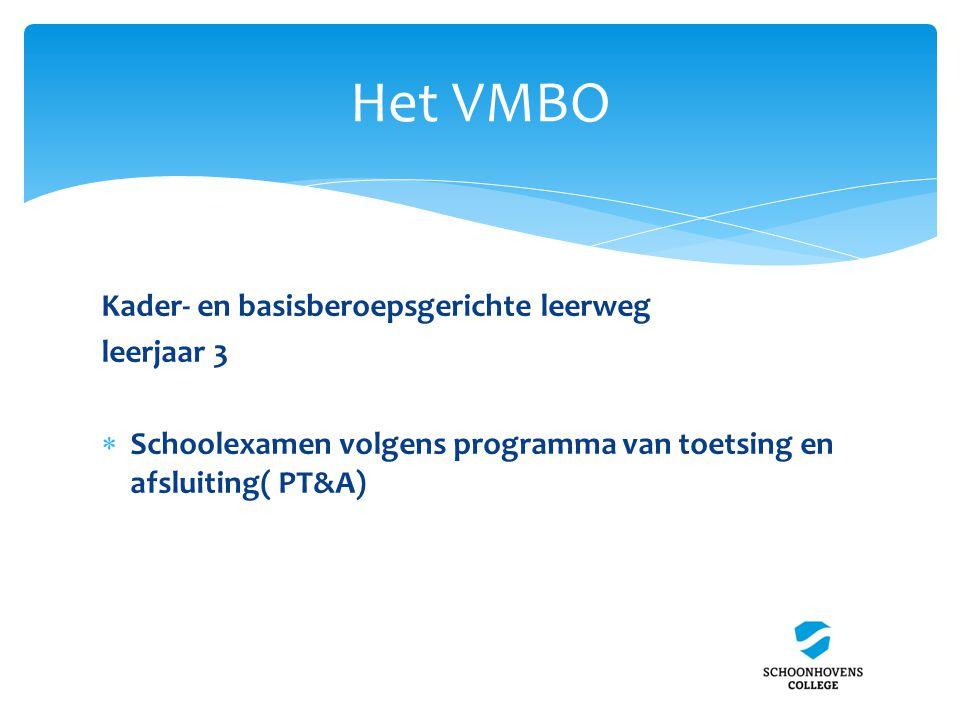 Het VMBO Kader- en basisberoepsgerichte leerweg leerjaar 3  Schoolexamen volgens programma van toetsing en afsluiting( PT&A)