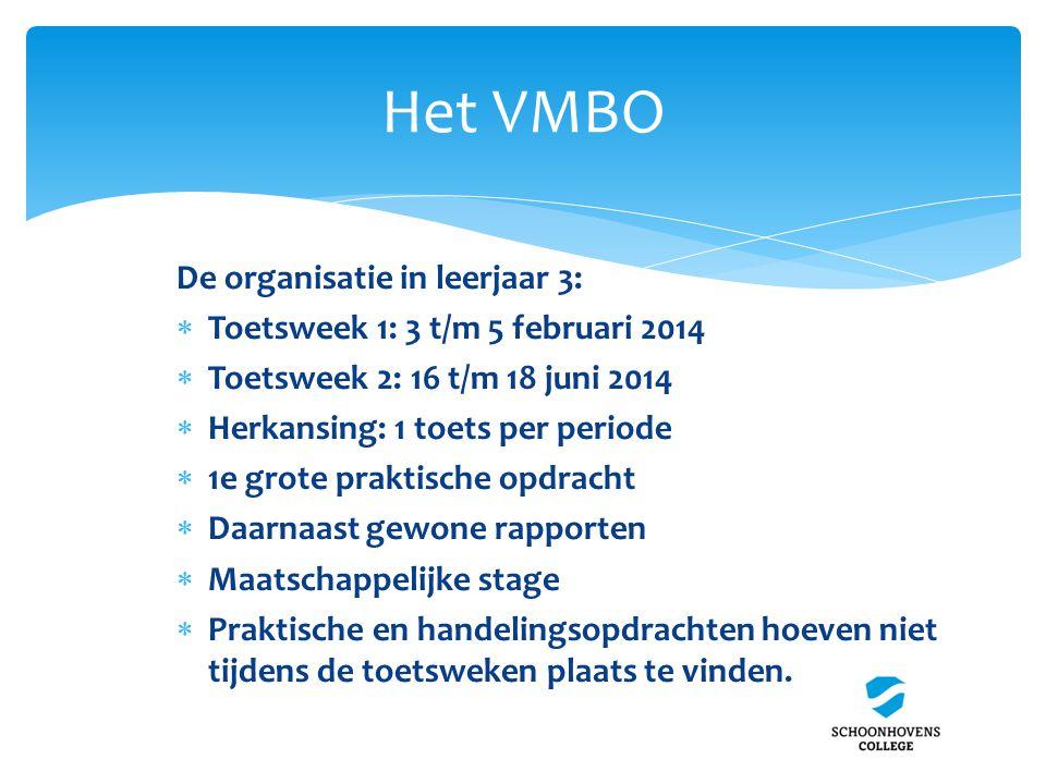 Het VMBO De organisatie in leerjaar 3:  Toetsweek 1: 3 t/m 5 februari 2014  Toetsweek 2: 16 t/m 18 juni 2014  Herkansing: 1 toets per periode  1e