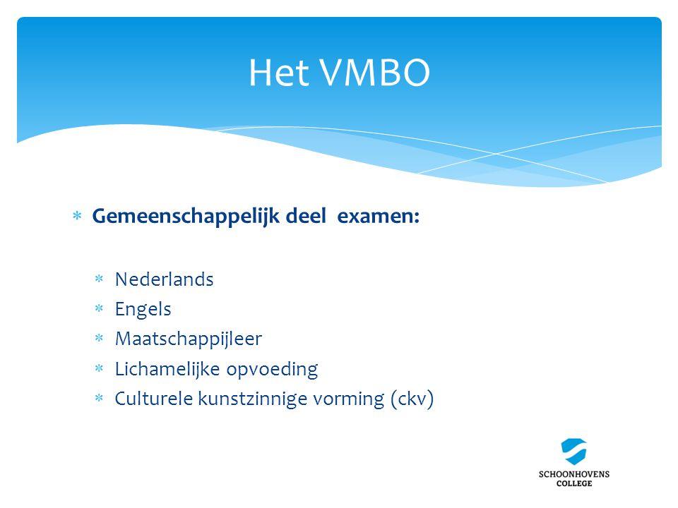 Het VMBO  Gemeenschappelijk deel examen:  Nederlands  Engels  Maatschappijleer  Lichamelijke opvoeding  Culturele kunstzinnige vorming (ckv)