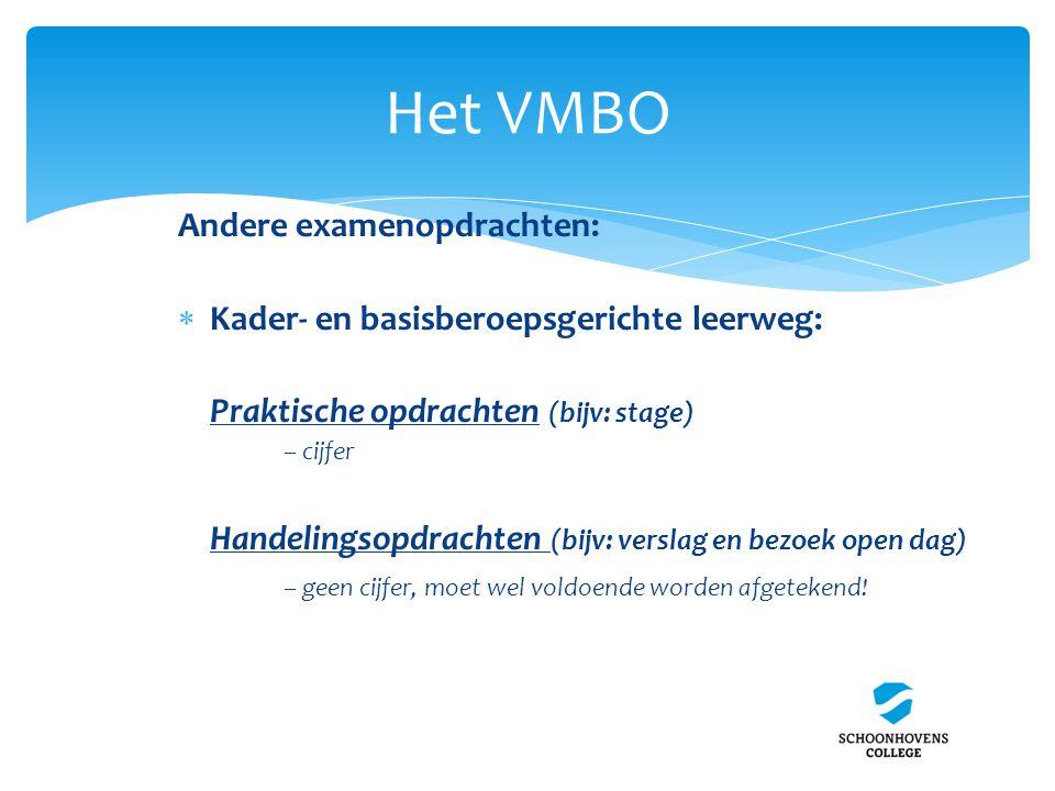 Het VMBO Andere examenopdrachten:  Kader- en basisberoepsgerichte leerweg: Praktische opdrachten (bijv: stage) – cijfer Handelingsopdrachten (bijv: v