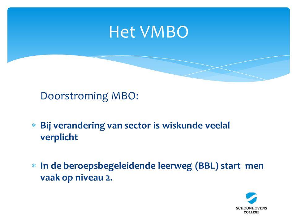 Het VMBO Doorstroming MBO:  Bij verandering van sector is wiskunde veelal verplicht  In de beroepsbegeleidende leerweg (BBL) start men vaak op nivea