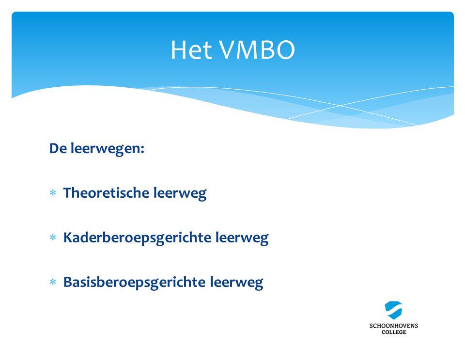 Het VMBO De leerwegen:  Theoretische leerweg  Kaderberoepsgerichte leerweg  Basisberoepsgerichte leerweg