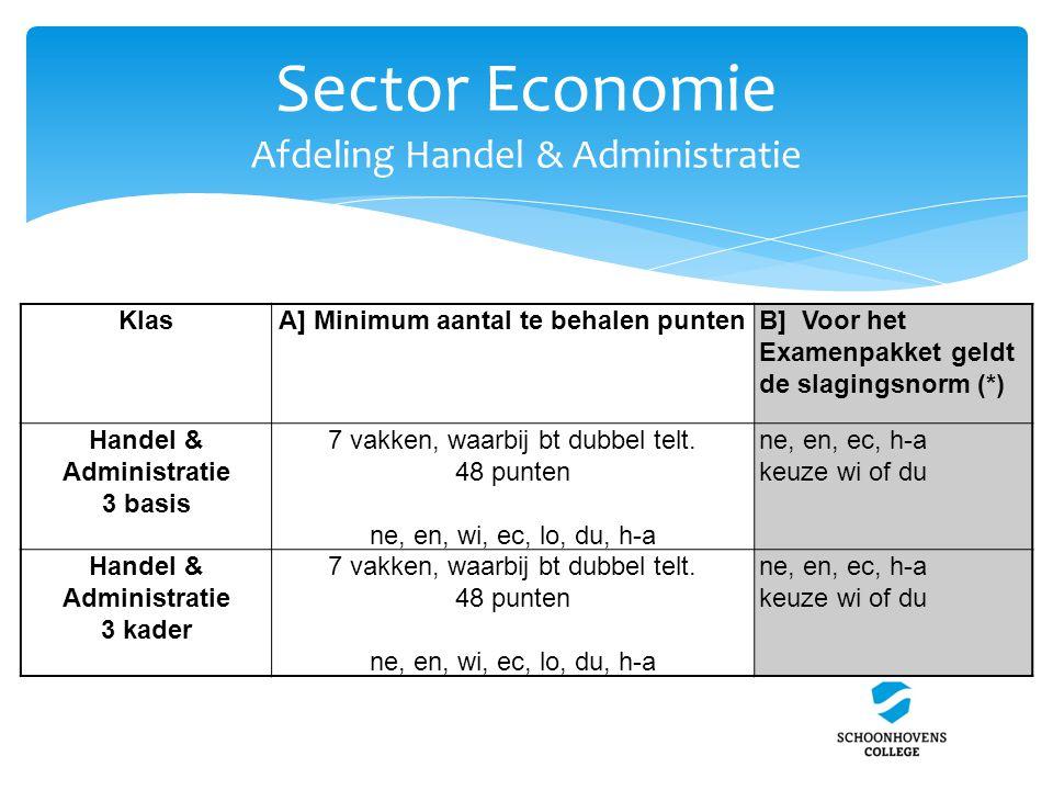 Sector Economie Afdeling Handel & Administratie KlasA] Minimum aantal te behalen puntenB] Voor het Examenpakket geldt de slagingsnorm (*) Handel & Adm