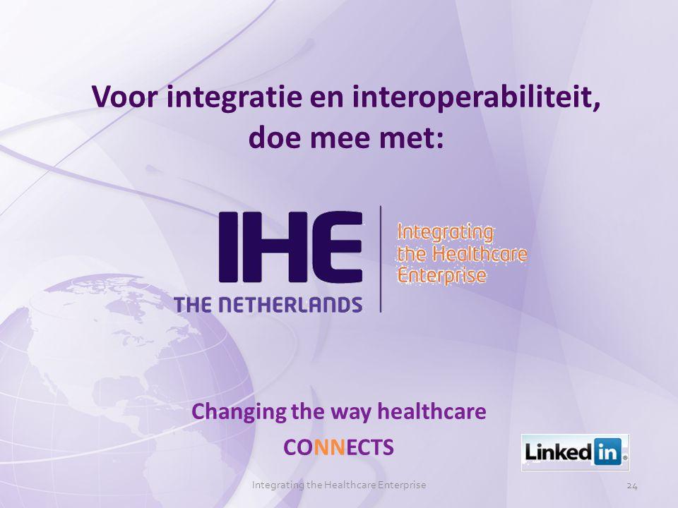 Voor integratie en interoperabiliteit, doe mee met: Changing the way healthcare CONNECTS Integrating the Healthcare Enterprise24