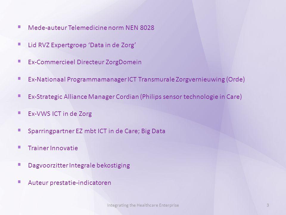  Mede-auteur Telemedicine norm NEN 8028  Lid RVZ Expertgroep 'Data in de Zorg'  Ex-Commercieel Directeur ZorgDomein  Ex-Nationaal Programmamanager ICT Transmurale Zorgvernieuwing (Orde)  Ex-Strategic Alliance Manager Cordian (Philips sensor technologie in Care)  Ex-VWS ICT in de Zorg  Sparringpartner EZ mbt ICT in de Care; Big Data  Trainer Innovatie  Dagvoorzitter Integrale bekostiging  Auteur prestatie-indicatoren Integrating the Healthcare Enterprise3
