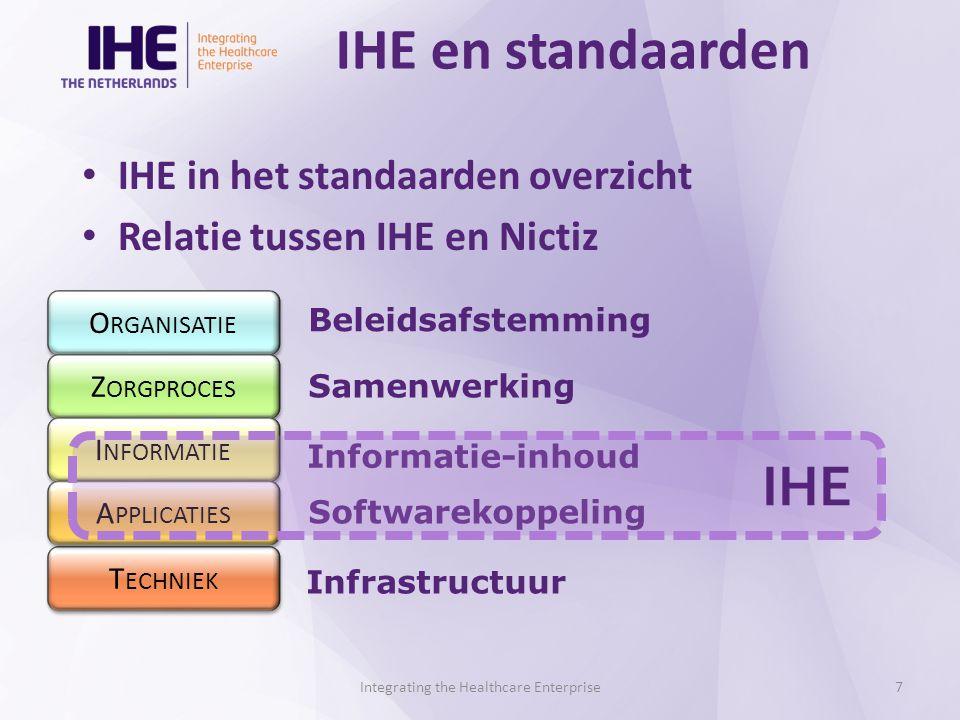 IHE en standaarden Integrating the Healthcare Enterprise7 IHE in het standaarden overzicht Relatie tussen IHE en Nictiz O RGANISATIE Z ORGPROCES I NFORMATIE T ECHNIEK A PPLICATIES Beleidsafstemming Samenwerking Informatie-inhoud Softwarekoppeling Infrastructuur IHE