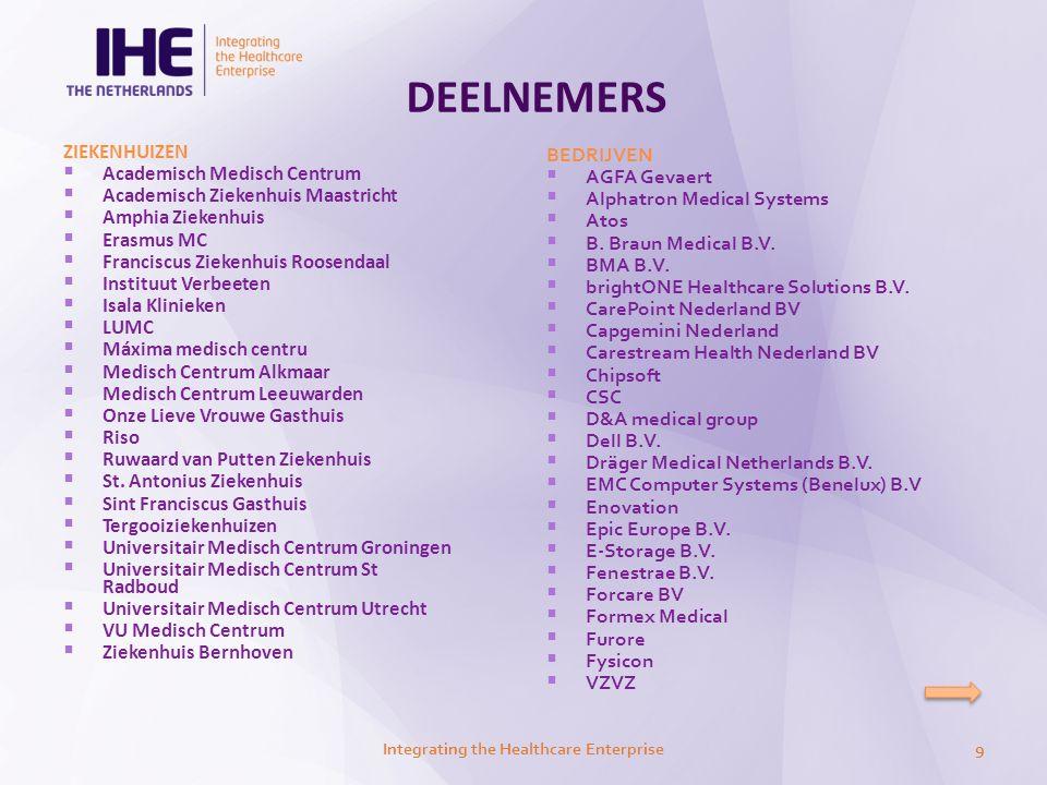 DEELNEMERS Integrating the Healthcare Enterprise10  GE Healthcare  HP Nederland  i3-groep  IBM  ICT Automatisering  Intersystems Benelux  ItéMedical  Kalcio BV  Leica Microsystems b.v.