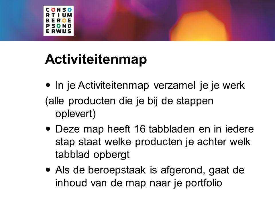 Activiteitenmap In je Activiteitenmap verzamel je je werk (alle producten die je bij de stappen oplevert) Deze map heeft 16 tabbladen en in iedere sta