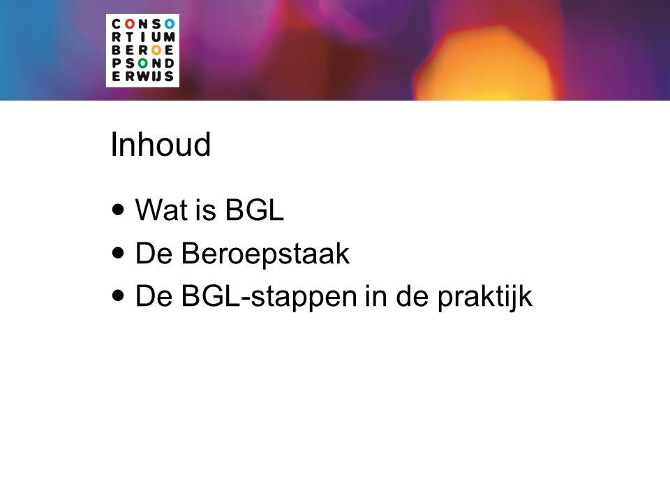 Inhoud Wat is BGL De Beroepstaak De BGL-stappen in de praktijk