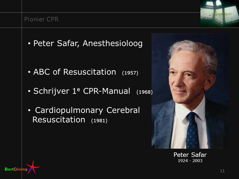 11 Pionier CPR Peter Safar, Anesthesioloog ABC of Resuscitation (1957) Schrijver 1 e CPR-Manual (1968) Cardiopulmonary Cerebral Resuscitation (1981) Peter Safar 1924 - 2003
