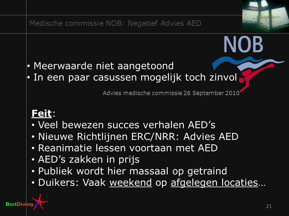 21 Medische commissie NOB: Negatief Advies AED Meerwaarde niet aangetoond In een paar casussen mogelijk toch zinvol Advies medische commissie 26 Septe