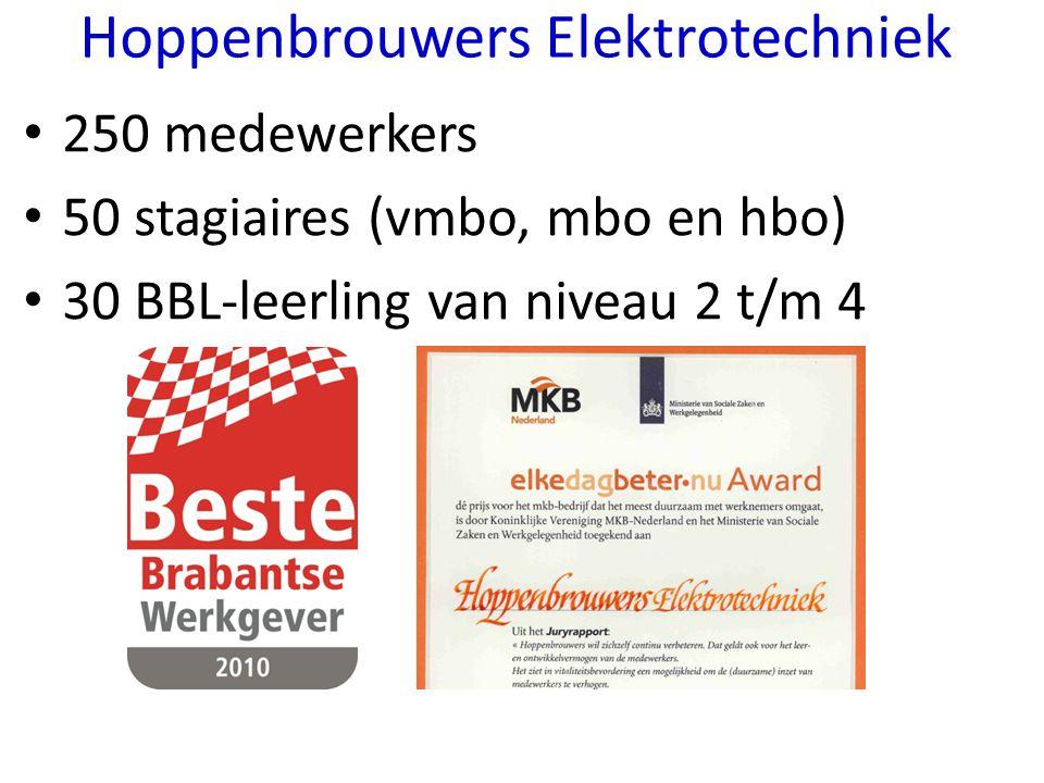 250 medewerkers 50 stagiaires (vmbo, mbo en hbo) 30 BBL-leerling van niveau 2 t/m 4 Hoppenbrouwers Elektrotechniek