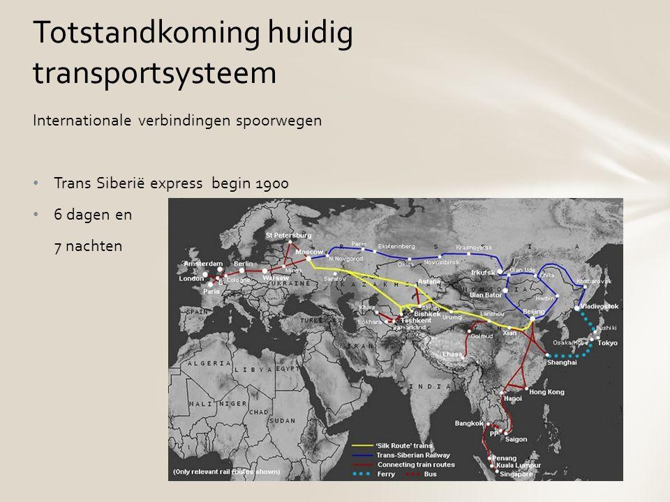Internationale verbindingen spoorwegen Trans Siberië express begin 1900 6 dagen en 7 nachten Totstandkoming huidig transportsysteem