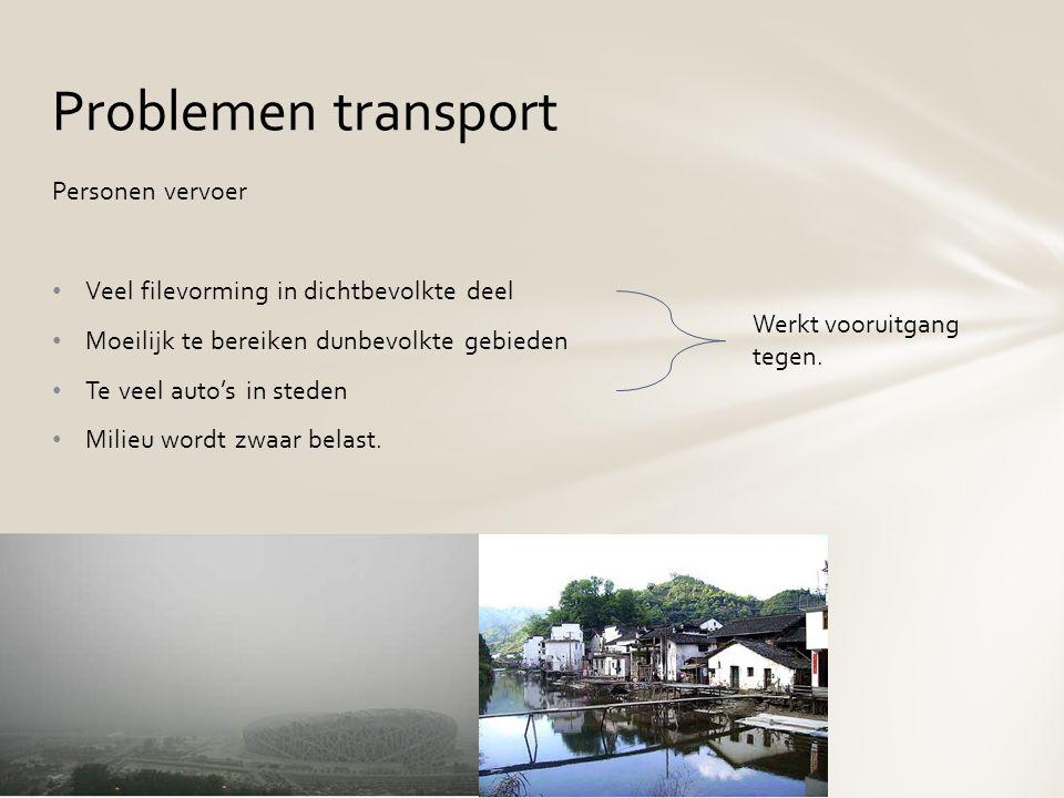 Personen vervoer Veel filevorming in dichtbevolkte deel Moeilijk te bereiken dunbevolkte gebieden Te veel auto's in steden Milieu wordt zwaar belast.