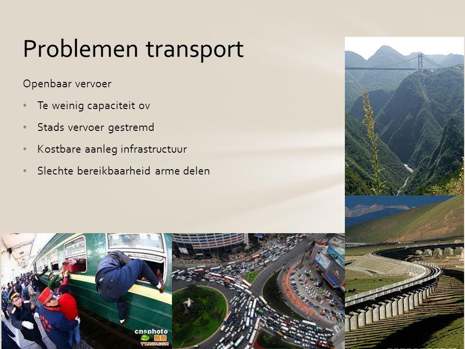 Openbaar vervoer Te weinig capaciteit ov Stads vervoer gestremd Kostbare aanleg infrastructuur Slechte bereikbaarheid arme delen Problemen transport
