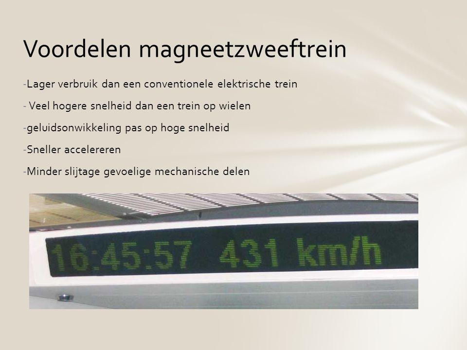 -Lager verbruik dan een conventionele elektrische trein - Veel hogere snelheid dan een trein op wielen -geluidsonwikkeling pas op hoge snelheid -Snell