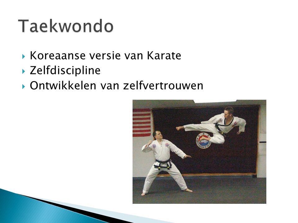  Koreaanse versie van Karate  Zelfdiscipline  Ontwikkelen van zelfvertrouwen