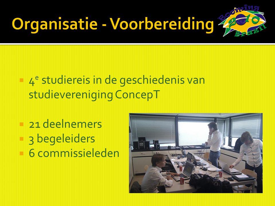  4 e studiereis in de geschiedenis van studievereniging ConcepT  21 deelnemers  3 begeleiders  6 commissieleden